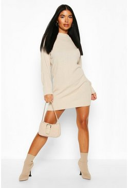 Stone Petite Knitted Rib Roll Neck Jumper Dress