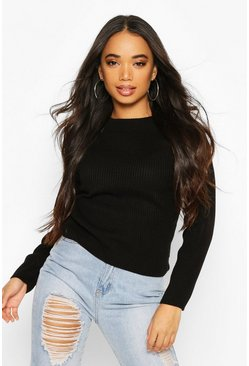 Black Petite Knitted Rib Roll Neck Jumper