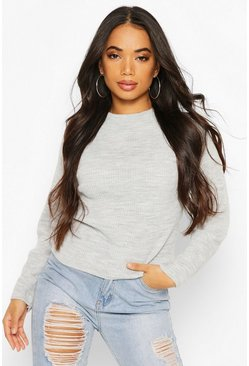 Womens Grey Petite Knitted Rib Roll Neck Jumper