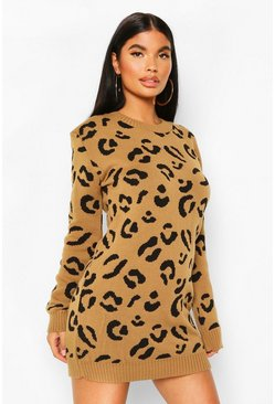Womens Camel Petite Leopard Jumper Dress
