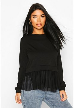 Black Petite Peplum Mesh Hem Sweat Top