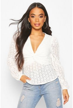 White Petite Broderie Volume Sleeve Twist Front Top