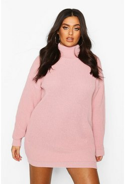 Womens Pastel pink Plus Roll Neck Jumper Dress