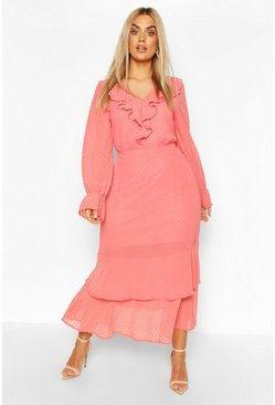 Coral Plus Dobby Mesh Ruffle Midi Dress
