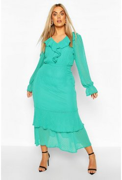 Green Plus Dobby Mesh Ruffle Midi Dress