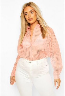 Dusky pink Plus Sheer Check Shirt