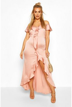 Blush Plus Cold Shoulder Ruffle Satin Midaxi Dress
