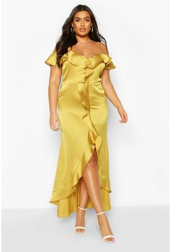 Chartreuse Plus Cold Shoulder Ruffle Satin Midaxi Dress