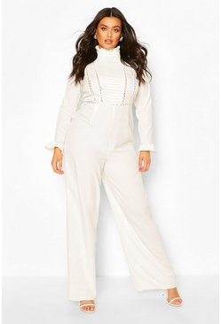 Ivory Plus Pleated Crochet Insert Tailored Jumpsuit