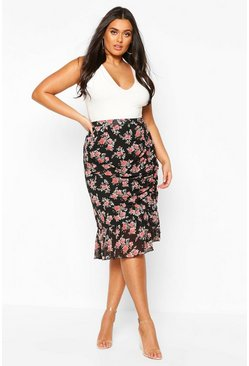 Black Plus Floral Ruched Side Asymmetric Midi Skirt