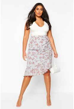 Blue Plus Floral Ruched Side Asymmetric Midi Skirt