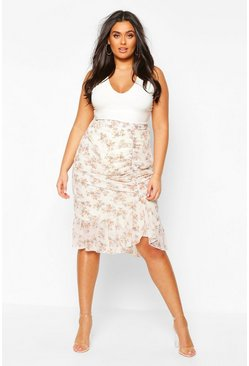 Ivory Plus Floral Ruched Side Asymmetric Midi Skirt