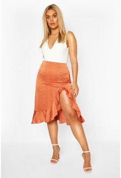 Rust Plus Satin Spot Ruffle Split Midi Skirt