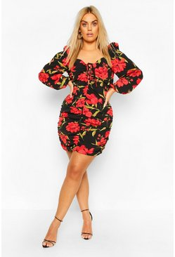 Black Plus Dark Floral Ruched Dress