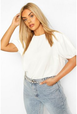 Ivory Plus Linen Feel Puff Sleeve Top