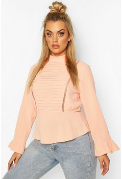 Coral Plus Pleated Longsleeve Blouse