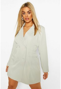 Light grey Plus Double Breasted Pinstripe Blazer Dress