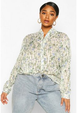 Ivory Plus Floral satin Sheer Stripe Collarless Shirt