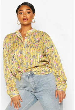 Lemon Plus Floral satin Sheer Stripe Collarless Shirt