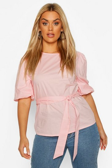 Blush Plus Puff Sleeve Self Belt Poplin Top