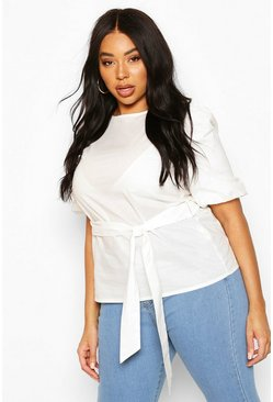 White Plus Puff Sleeve Self Belt Poplin Top