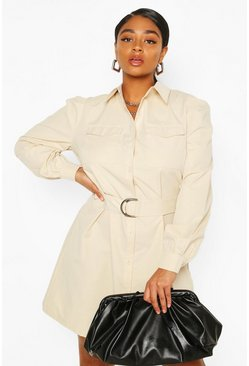 Stone Plus Puff Sleeve Belted Shirt Dress