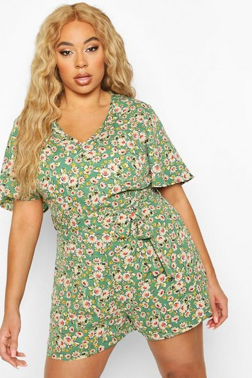 Green Plus Floral Print self Belt Angel Sleeve Playsuit