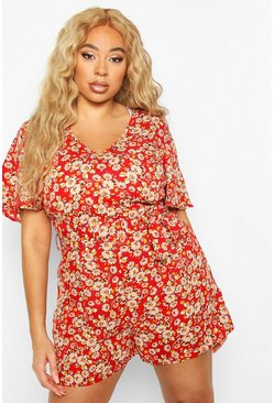 Red Plus Floral Print self Belt Angel Sleeve Playsuit