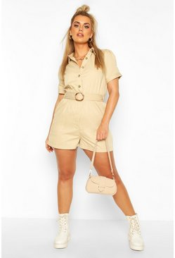 Stone Plus Buckle Detail Utility Cotton Twill Romper