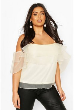 Ivory Plus Ruffle Organza Cold Shoulder Cami