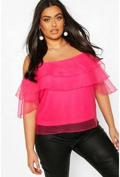 Pink Plus Ruffle Organza Cold Shoulder Cami