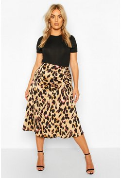 Womens Brown Plus Leopard Print Satin Ruched Asymmetric Skirt