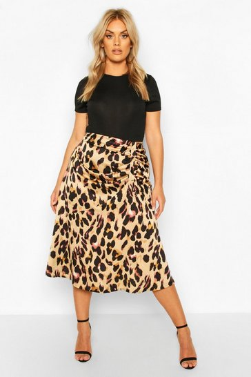 Brown Plus Leopard Print Satin Ruched Asymmetric Skirt