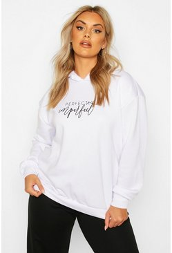 White Plus Perfectly Imperfect Slogan Hoodie