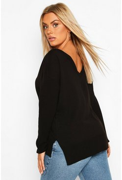 Black Plus Sweater With V-Neck Detail Front & Back