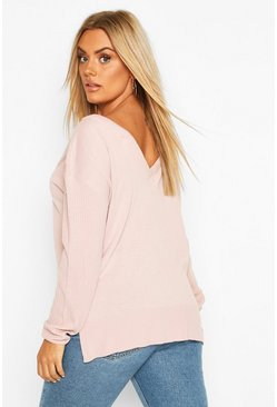 Blush Plus Jumper With V-Neck Detail Front & Back