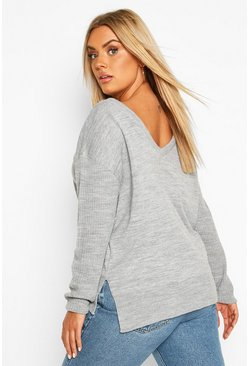 Grey Plus Jumper With V-Neck Detail Front & Back
