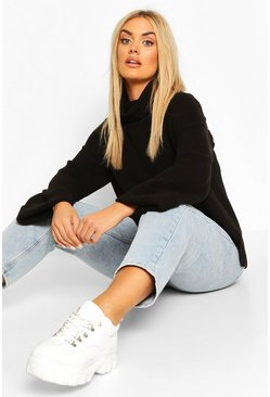 Black Plus Rib Knit Wide Sleeve Turn Up Cuff Jumper