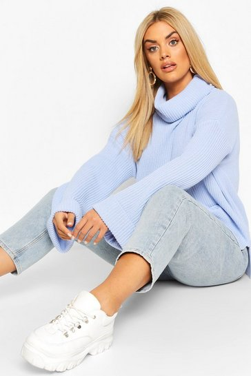 Blue Plus Rib Knit Wide Sleeve Turn Up Cuff Jumper