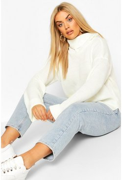 Ivory Plus Rib Knit Wide Sleeve Turn Up Cuff Jumper