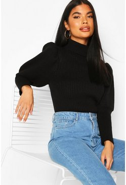 Black Petite Puff Sleeve Roll Neck Sweater