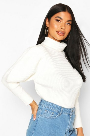 Ivory Petite Puff Sleeve Roll Neck Jumper