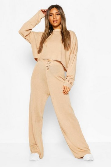 Camel Petite Off Shoulder Top & Wide Leg Knitted Co-Ord