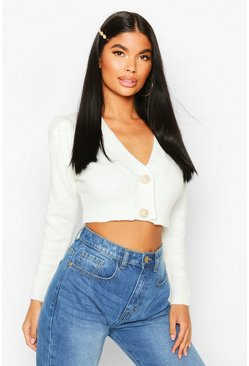 Ivory Petite Chunky Knit Puff Sleeve Cropped Cardigan
