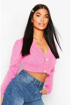 Pink Petite Chunky Knit Puff Sleeve Cropped Cardigan