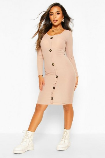 Stone Petite Button Long Sleeve Rib Midi Dress