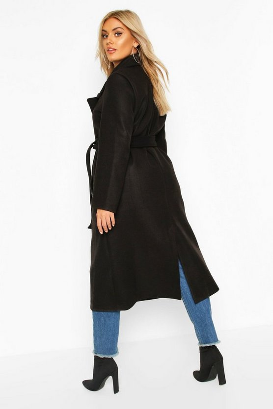 Plus Oversized Self Belted Long Coat