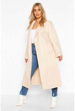 Cream Plus Oversized Self Belted Long Coat