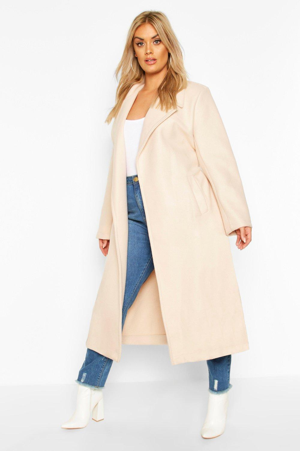 Plus Oversized Self Belted Long Coat 8