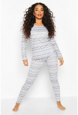Grey Petite Christmas Fair Isle PJ Set